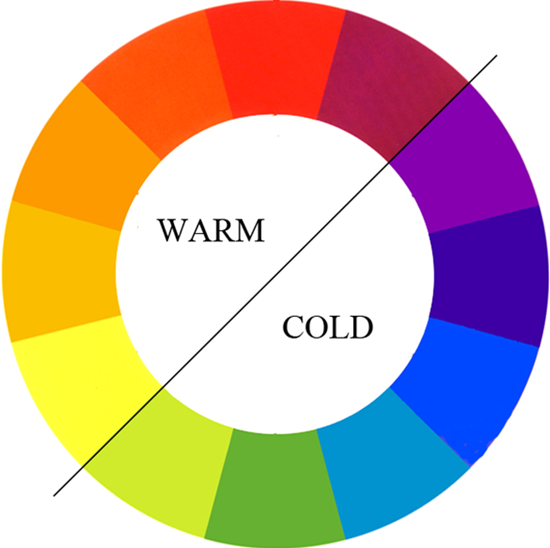 Warm and cold colors on the color wheel