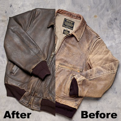 Before and after professional cleaning/condition service (Sporty's Leather Jacket Cleaning)