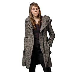 Coat with wool outer shell