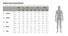 Example of a size chart used by an online boutique