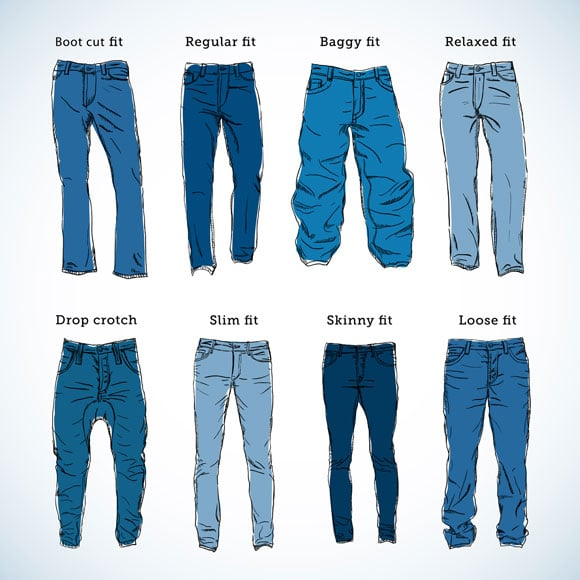 Men pant and jean cuts