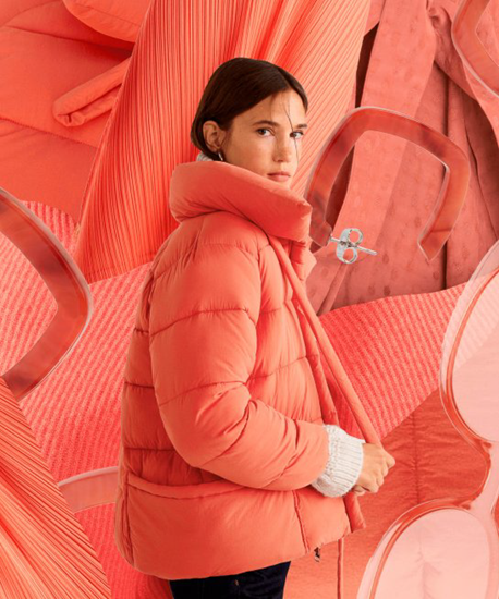 Color of the Year 2019 Living Coral - coat and background